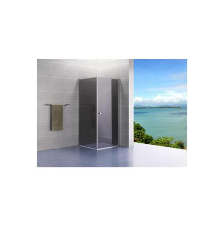 Lusso duschvägg rak komplett gråtonat glas