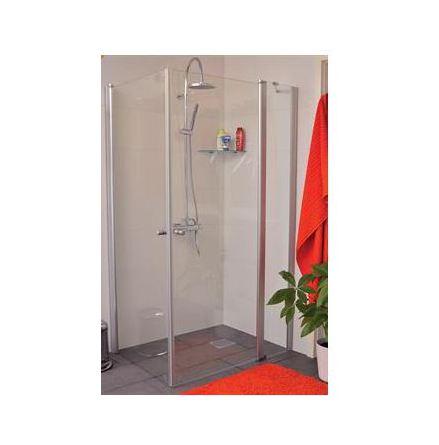 DUSCHHÖRN RAK Vikbart duschhörn med en förlängd fast vägg